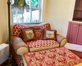 Down Filled Chair and Ottoman / Floor Lamp