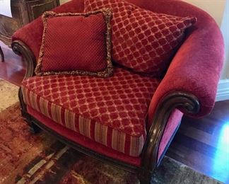 Red Upholstered Arm Chair