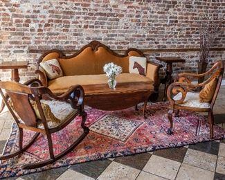 Velvet Mahogany Empire Sofa and Three Mahogany Chairs, Traditional hand tufted oriental.