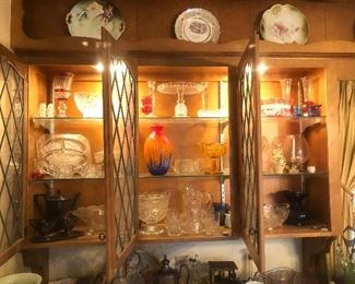 Several pieces of crystal, cut glass, depression glass, vases, and china