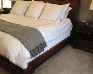 Wooden Henredon King Sleigh bed (mattress & linen - NFS)