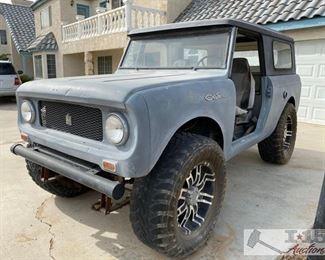 """80-1967 International Harvester Scout 800 1967 International Harvester Scout 800 Serial number 781927G260921. 4WD, V8 motor. 20"""" wheels. 37"""" Togo Tires"""