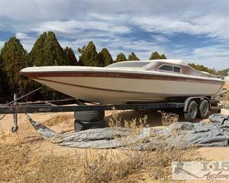 92: 1978 24' Hawaii Daycruiser Jet Boat Boat Vin: IBG 1 207209 77 78 Boat has no motor. Berkeley Jet drive. Trim Tabs. Swim step ladder Tandem axle Coyote Boat Trailer