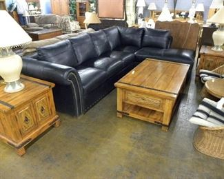 Leather Sectional, Wood Coffee & End Tables