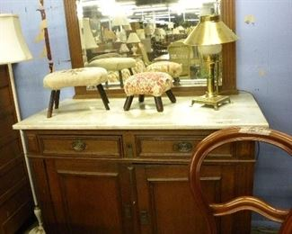 Marble Top Antique Cabinet