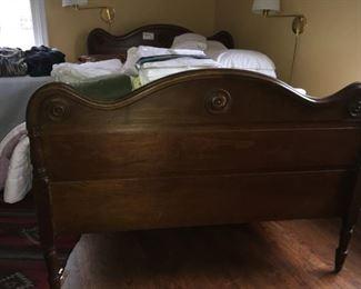 Antique full bed wood headboard, footboard and slats