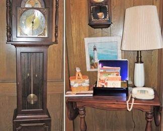 Grandfather clock.  Pendulum wall clock. Rotary phones, unique lamps