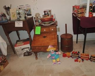 Retro Singer sewing machine in cabinet. Bernina Serger and cases of thread,  sewing supplies and notions