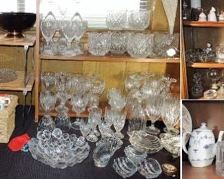 Collection of crystal and glass.  Stemware, biscuit jars, bells, bowls, vases, dishes, and more