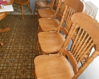 We have (6) solid wood chairs
