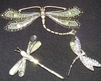 Selection of Sterling silver Dragon Fly Pins