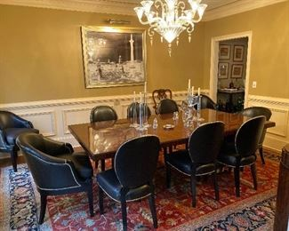 Ralph Lauren rosewood Duke double pedestal Dining table.  Set of Ten Ralph Lauren leather chairs comprising of 4 Dutches arm chairs and 6 Duke side chairs.