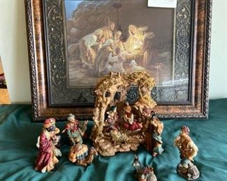 Beautiful Framed Nativity Scene Picture and Resin Nativity Set