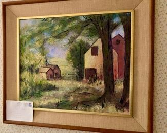 """John Grosvenor Paint with letter from the artist. Cobleskill College has a room dedicated to him called the """"Grosvenor Art Gallery"""""""