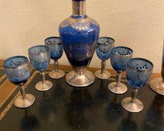 Cobalt Decanter Set with 6 Goblets