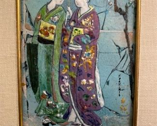 "Keskinis Studio ""Ladies with Umbrella"" Enamel on Copper"