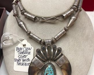 Bear Claw Sterling and Turquoise Oliver Smith