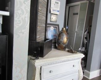 slate waterfall and antique entry table