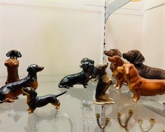 Dachsund Porcelain Figurines, English, Goebel Collectibles