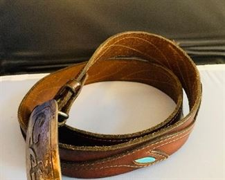 Men's Belt, Sterling Buckle, Turquoise accent