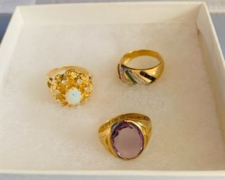 Opals, Amethyst, Gold Rings, 1-14k