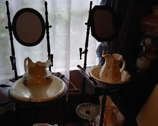 Vintage wash pitcher with bowl and wood stand with mirror