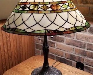 Pair of older Tiffany slag glass reproduction Lamps Lights