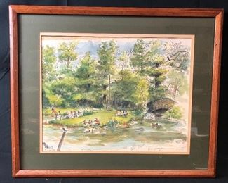 Elizabeth Park original artwork by Chaz Shulman award winning Simsbury Artist(1926-2012)