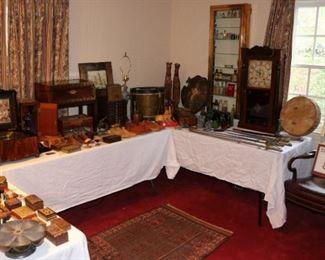 Clocks, swords, Polyphon music box, militaria
