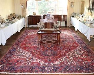 Vintage Iranian hand knotted Rug, antique and 20th c. Mahogany furniture, American and Continental Porcelain