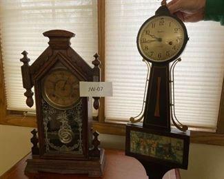 Vintage Banjo and Mantle Clocks