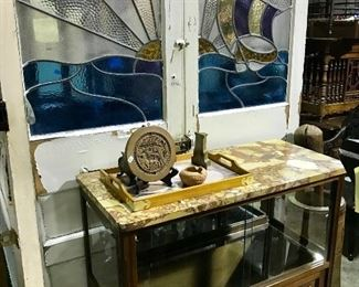Stained glass doors with ship scene & sunset