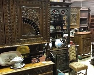 Beautiful Brittany/ Breton carved cabinets, sideboards, cupboards & more