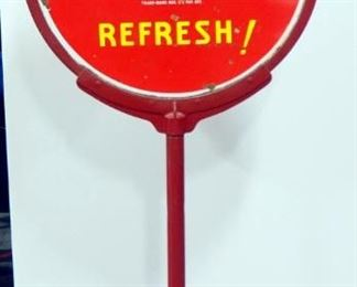 "Vintage Coca-Cola Double- Sided Advertising ""Lollipop"" Stand With Cast Iron Base, 65"" H, 30"" Diameter"