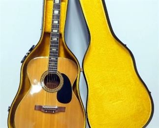Alvarez Guitars Model No. 5047 1972 Acoustic Guitar With Adjustable Bridge, Rare Back Cut Neck With Large Inlays, Barely Played, In Case