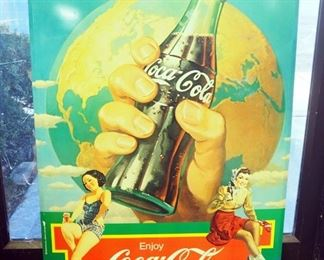"Metal Coca-Cola Advertising Sign, 23"" H x 24"" W"