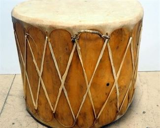"Wood Drum With Rawhide Top And Bottom, 22"" H x Approx 24"" Diameter"