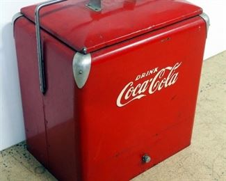 """Vintage Metal Coca-Cola Insulated Ice Chest/ Cooler, With Removable Tray Insert, 19"""" H x 18"""" W x 13"""" D"""