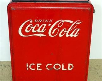 """Vintage Metal Coca-Cola Insulated Ice Chest/ Cooler 34.5"""" H x 25"""" W x 17.5"""" D, With Bottle Opener"""