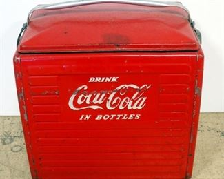 """Vintage Metal Coca-Cola Insulated Ice Chest/ Cooler, With Removable Tray Insert, 17"""" H x 17"""" W x 13"""" D"""
