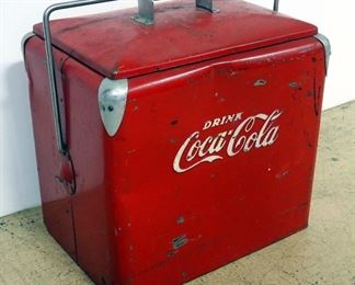 """Vintage Metal Coca-Cola Insulated Ice Chest/ Cooler, With Attached Bottle Opener, 17"""" H x 18"""" W x 13"""" D"""