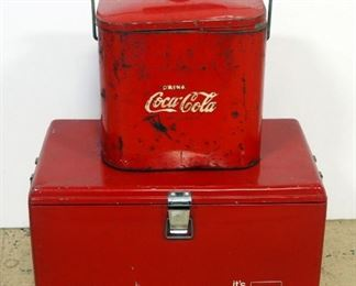 """Vintage Metal Coca-Cola Insulated Ice Chest, 13"""" H x 22"""" W x 13"""" D And Vintage Metal Coca-Cola Insulated Cooler, 13"""" H x 12"""" W x 8.5"""" D"""