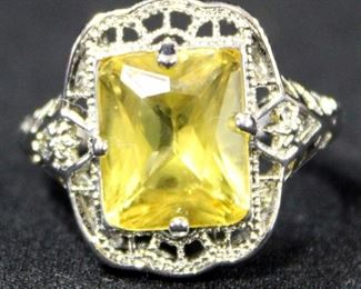 Sterling Silver Ring, Size 8 1/4, With Yellow Stone