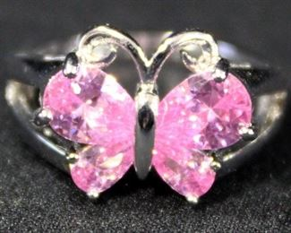 Sterling Silver Ring, Size 5, With Pink Stones In Butterfly Setting