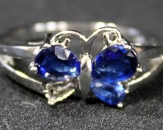 Sterling Silver Ring, Size 10.5, With Blue Stones In Butterfly Setting
