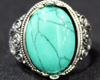Sterling Silver Ring, Size 9, With Turquoise Colored Stone