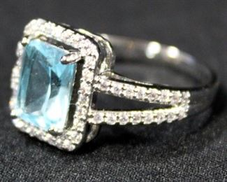 Sterling Silver Ring, Size 8 3/4, With Light Blue Stone