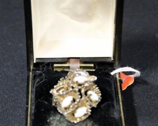 Sterling Silver Ring, Size 8, With Opal Stones