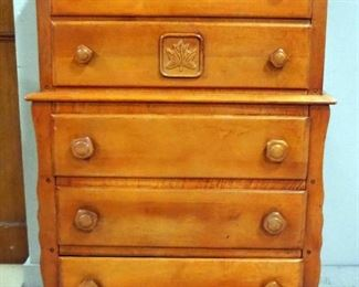 """Wood 5-Drawer Chest Of Drawers, 1 Drawer With Maple Leaf Design On Front, 47"""" H x 32"""" W x 19"""" D"""