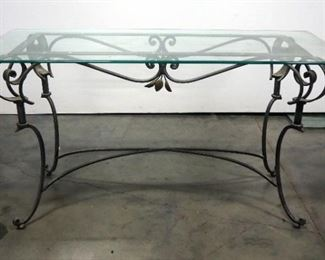 """Glass Top Table With Metal Base, 28"""" Tall x 52"""" Wide x 20"""" Deep"""